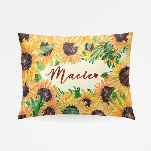 Personalized Sunflower Pillowcase - The Snuggly Geekling