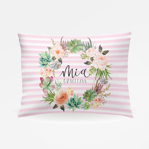 Watercolor Floral Stripe Pillowcase