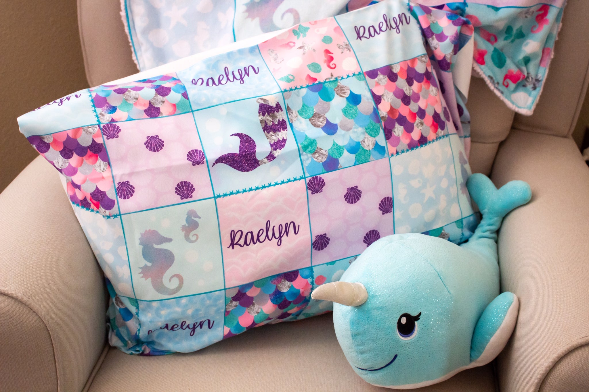 Mermaid Patchwork Pillowcase