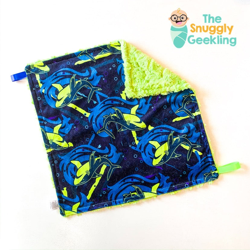 Neon Sharks Lovey - The Snuggly Geekling