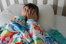Load image into Gallery viewer, Rainbow Dinosaur Minky Blanket - The Snuggly Geekling