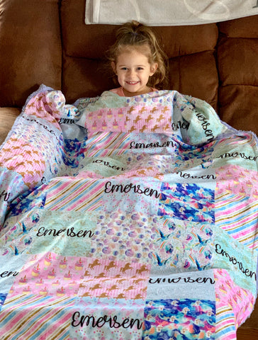 Personalized Pastel Glitter Unicorn Patchwork Blanket