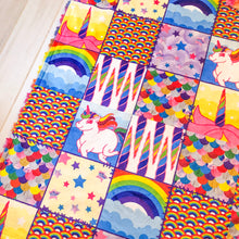 Load image into Gallery viewer, Rainbow Unicorn Patchwork Blanket - The Snuggly Geekling