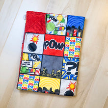 Load image into Gallery viewer, Super Hero Patchwork Blanket - The Snuggly Geekling