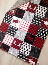 Load image into Gallery viewer, Woodsy Moose Patchwork Blanket (Personalized) - The Snuggly Geekling