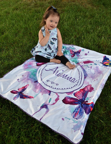 Personalized Watercolor Butterfly Blanket