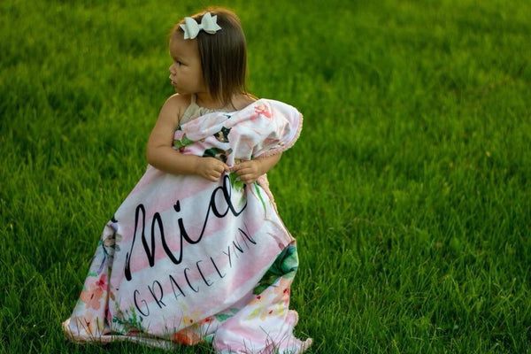 Personalized Floral Striped Blanket