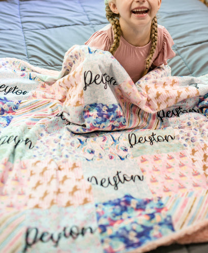 Personalized Pastel Glitter Unicorn Patchwork Blanket - The Snuggly Geekling