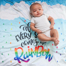 Load image into Gallery viewer, Rainbow Baby Blanket - After Every Storm Comes A Rainbow - The Snuggly Geekling