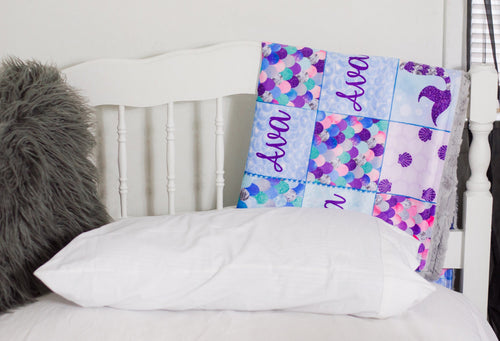 Personalized Mermaid Patchwork Blanket - The Snuggly Geekling