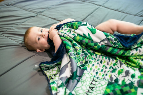Personalized Dinosaur Patchwork Blanket - Green Version - The Snuggly Geekling