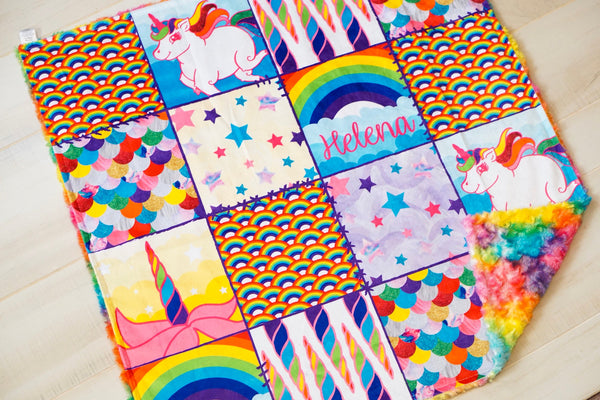 Rainbow Unicorn Patchwork Blanket