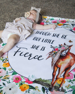 She is Fierce - Floral Horse Baby Blanket