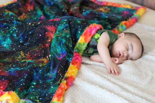 Rainbow Galaxy Blanket - The Snuggly Geekling