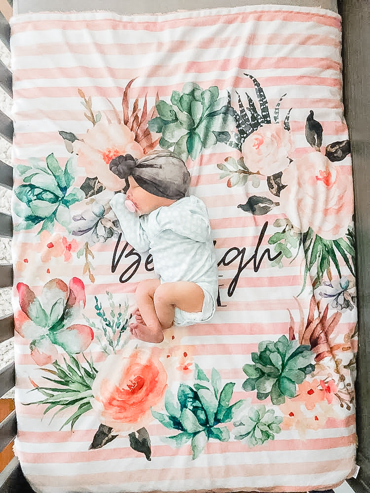 Personalized Floral Striped Blanket - The Snuggly Geekling
