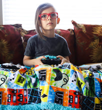 Load image into Gallery viewer, Retro Gamer Patchwork Blanket - The Snuggly Geekling