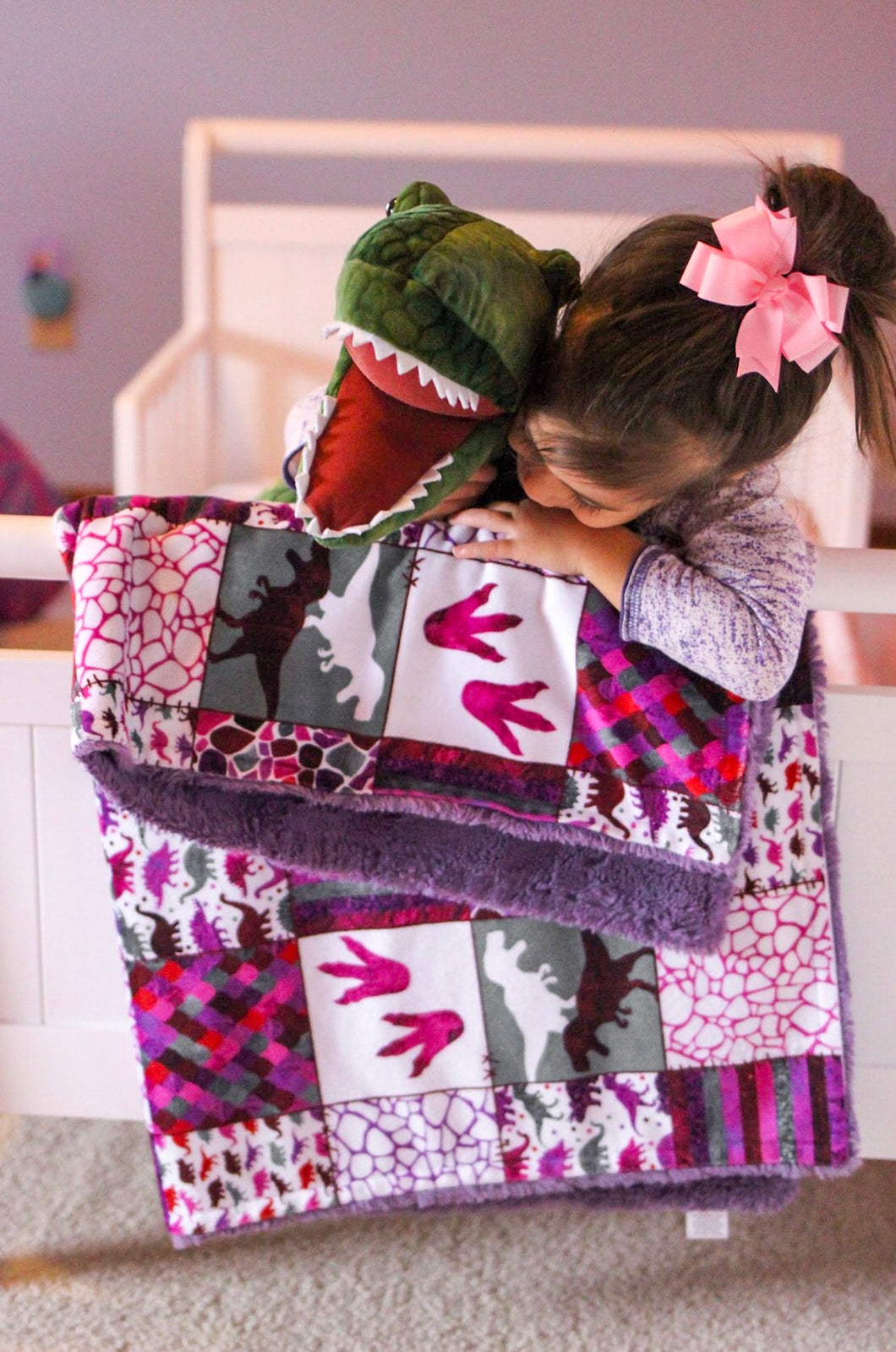 Personalized Dinosaur Patchwork - Pink Version - The Snuggly Geekling
