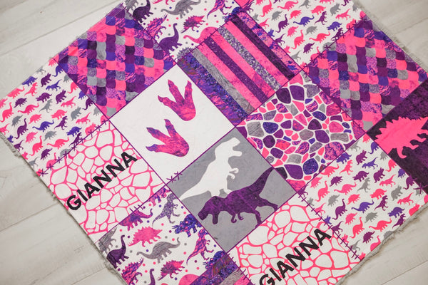 Personalized Dinosaur Patchwork - Pink Version