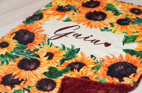 Personalized Sunflower Blanket