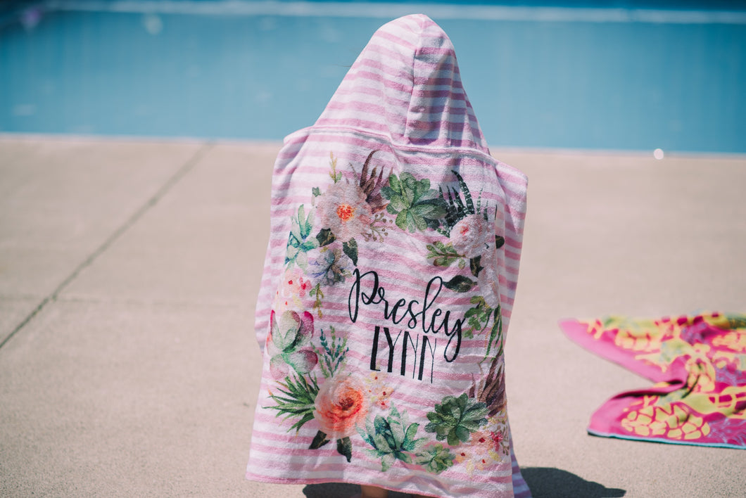 Personalized Watercolor Floral Stripe Towel - The Snuggly Geekling