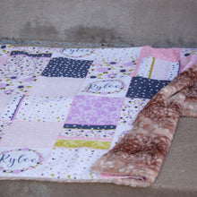 Load image into Gallery viewer, Personalized Floral Patckwork Blanket - The Snuggly Geekling