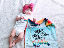 Load image into Gallery viewer, Rainbow Baby Lovey - After Every Storm Comes a Rainbow - The Snuggly Geekling