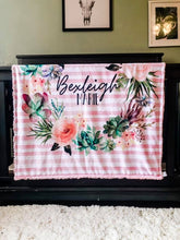 Load image into Gallery viewer, Personalized Floral Striped Blanket - The Snuggly Geekling