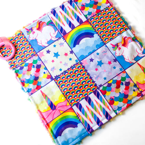 Rainbow Unicorn Patchwork Lovey - The Snuggly Geekling