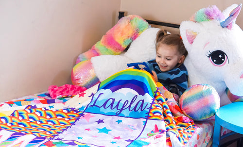 Rainbow Unicorn Patchwork Blanket - The Snuggly Geekling