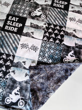 Load image into Gallery viewer, Eat Sleep Ride Dirtbikes Patchwork Blanket - The Snuggly Geekling