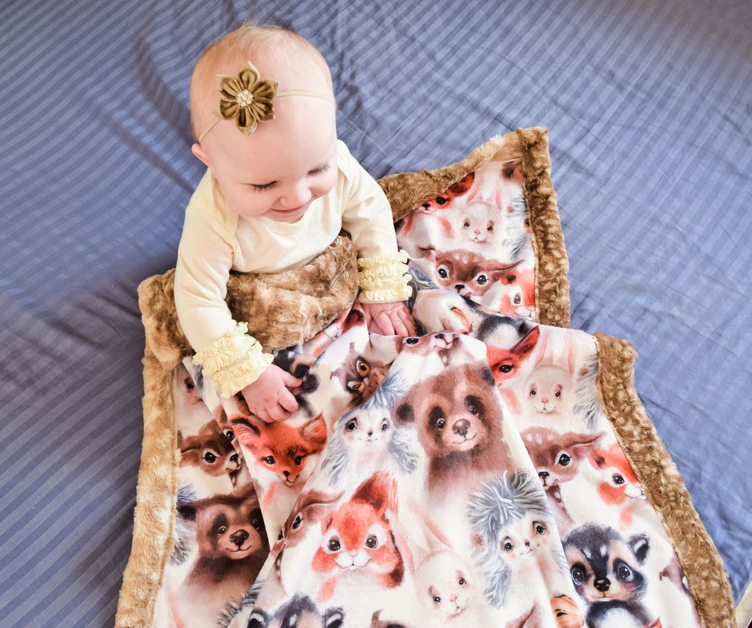 Watercolor Wooded Friends Blanket - The Snuggly Geekling