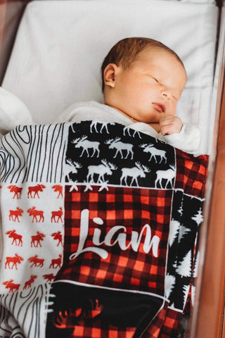 Woodsy Moose Patchwork Blanket (Personalized) - The Snuggly Geekling