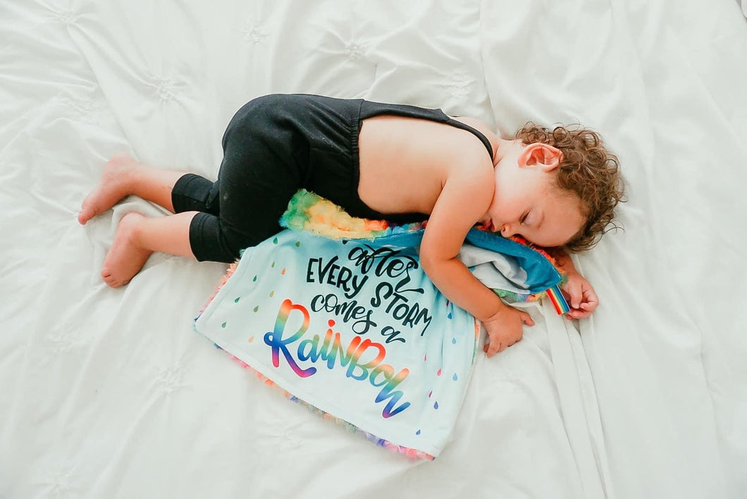 Rainbow Baby Lovey - After Every Storm Comes a Rainbow - The Snuggly Geekling