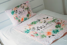 Load image into Gallery viewer, Watercolor Floral Stripe Pillowcase - The Snuggly Geekling