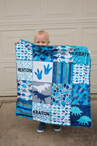 Personalized Dinosaur Patchwork Blanket - Blue Version - The Snuggly Geekling