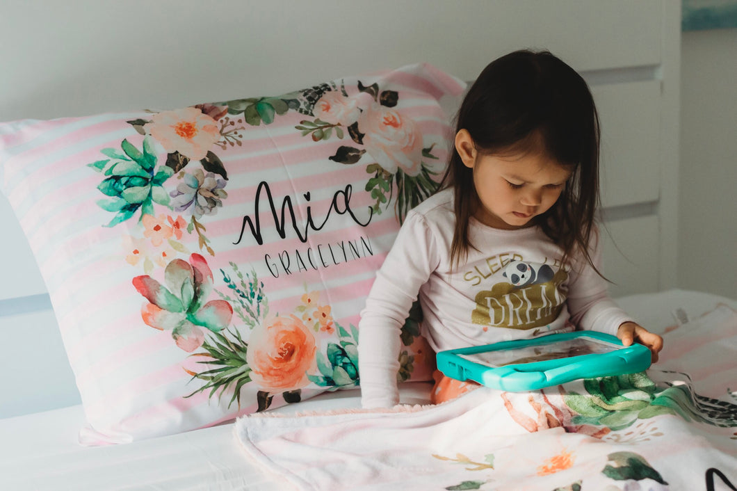 Watercolor Floral Stripe Pillowcase - The Snuggly Geekling