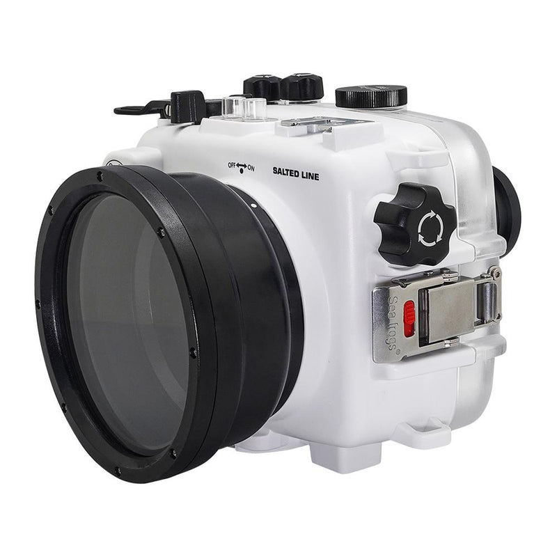 Salted Line underwater housing with pistol grip white side view