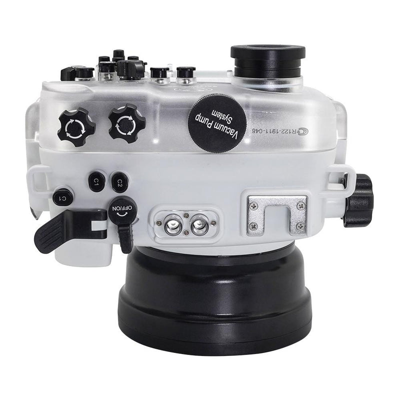 Salted Line underwater housing with pistol grip white top view