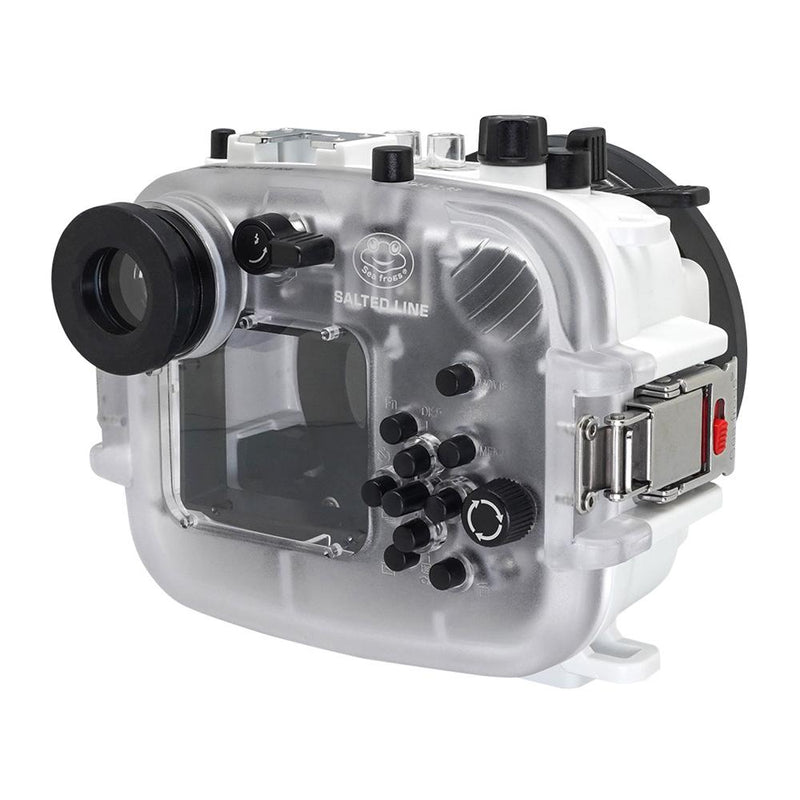 Salted Line underwater housing for sony RX100 white rear view