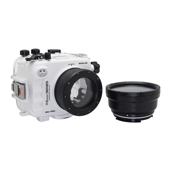 Salted Line underwater housing with threaded short macro port white