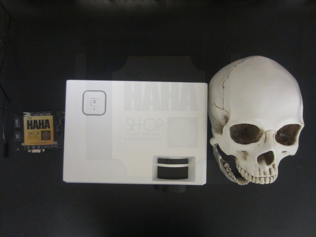 Escape room prop customized: skull projector prop