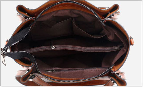 Brown leather tote bags with zipper closure