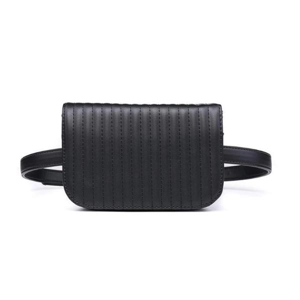 Black leather fanny pack for women
