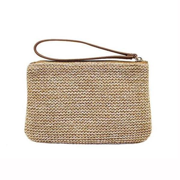 Straw small wallet clutch