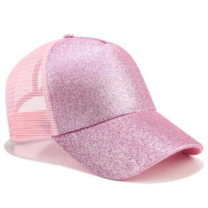 Pink ponytail baseball cap with glitter