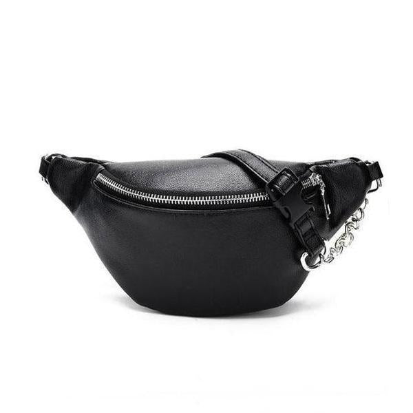 Cute black leather belt bag with chain strap