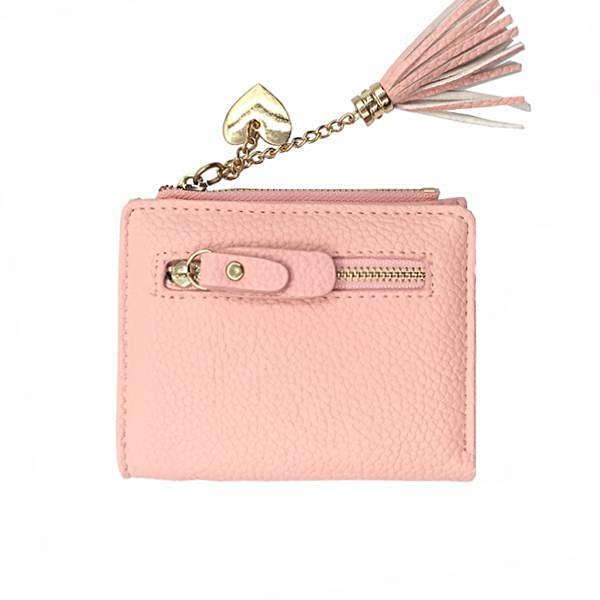 Cute pink leather wallet with heath chain