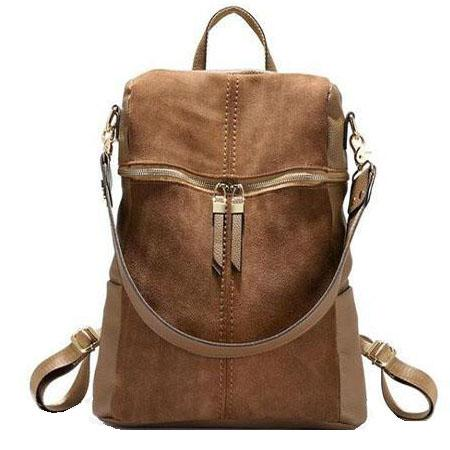 Suede backpack shoulder bag