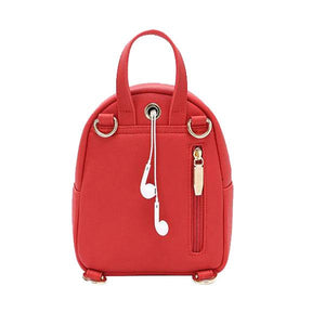 Red mini backpack purse with headphone openings