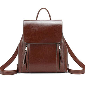 Brown Crossbody leather backpack purse
